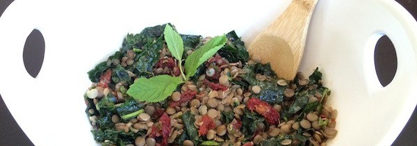 Sprouted Lentil Salad with Kale + Sundried Tomatoes