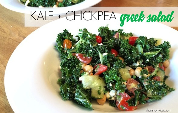 kale and chickpea greek salad
