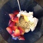Greek Yogurt with Fruit and hemp seeds healthy snack